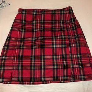 Brandy Melville red plaid skirt